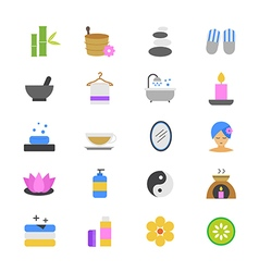 Spa Flat Color Icons vector image