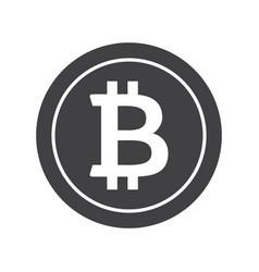 Black bitcoin icon vector