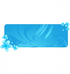 blue banner with tropical flowers vector image vector image