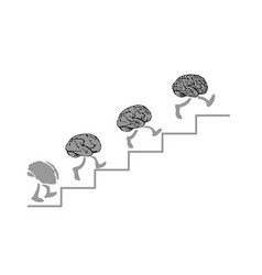 brains run are climbing the stairs the smartest - vector image
