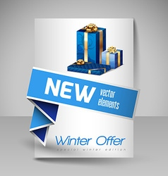 Brochure design template with blue christmas gifts vector