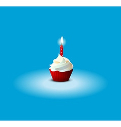 Cake for birthday on blue background eps 10 vector