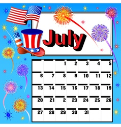 calendar for July independence day vector image vector image