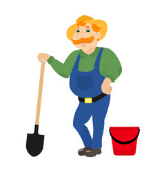 Cartoon farmer with shovel bucket vector