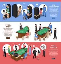 Casino isometric horizontal banners vector