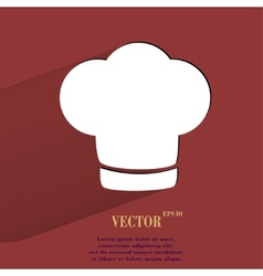 Chef cap Cooking Flat modern web button with long vector image vector image