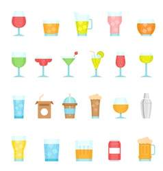 Color icon set - glass and beverage vector image vector image