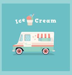 colorful retro ice cream van vector image