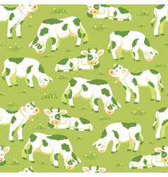 Cows on the field seamless pattern background vector image