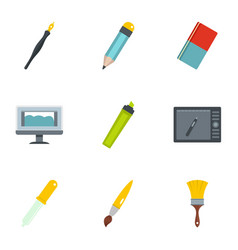 Designer workspace icons set flat style vector