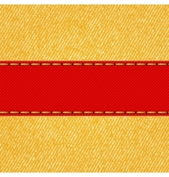 Fabric texture with label ribbon vector