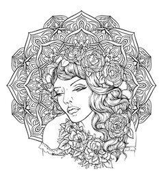 Face of pretty elegant boho girl vector