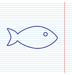 Fish sign navy line icon on vector