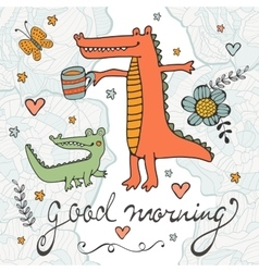 Good morning beautiful card with hand drawn vector