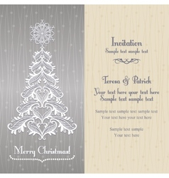Greeting card with christmass tree silver vector