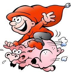 Hand-drawn of elf riding on a pig vector image vector image