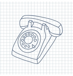 Hand drawn old telephone vector