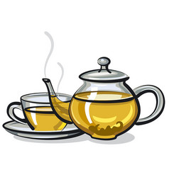 Hot green tea vector