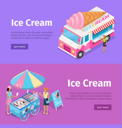 ice cream mobile umbrella cart and minivan poster vector image vector image