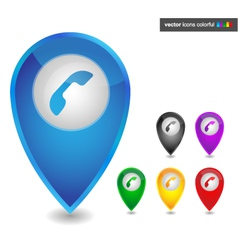 Map pointer with phone icon colorful vector image
