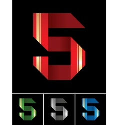 Numeral of paper tape - 5 vector image vector image