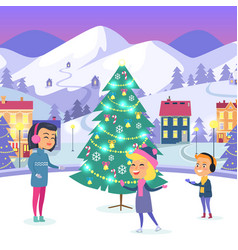 People on icerink in decorated christmas town vector