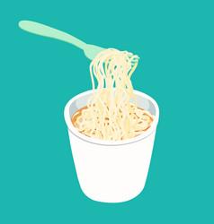 Plain instant noodle white cup vector