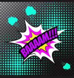 pop art comic speech bubble bam vector image vector image