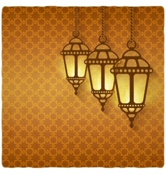ramadan kareem golden background with shining vector image