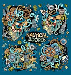 set of marine nautical doodles design vector image