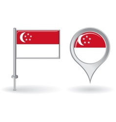 Singapore pin icon and map pointer flag vector