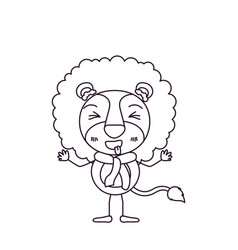 Sketch silhouette caricature of cute lion and vector
