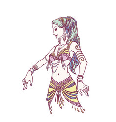 Tribal dancer or belly dancer girl in hand drawn vector