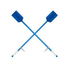 Two crossed old oars in blue design vector