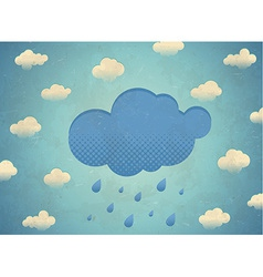 Vintage aged card with rainy clouds vector image