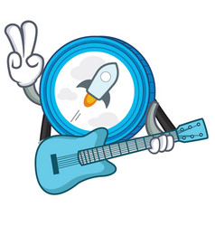 With guitar stellar coin character cartoon vector