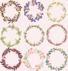 Set of cute multicolored floral wreaths vector