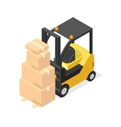 Lift truck and cardboard boxes isometric view vector