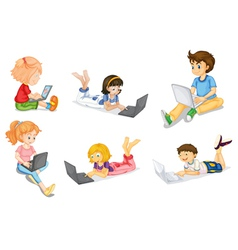 Kids with laptop vector