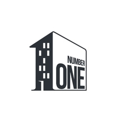Black and white number one logo as apartment house vector