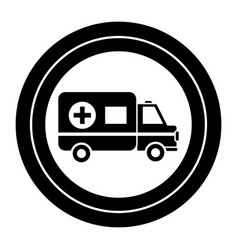 Contour sticker ambulance emergency care life vector