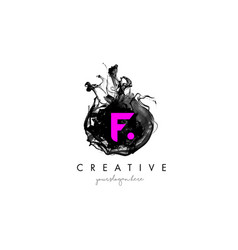 F letter logo design with ink cloud texture vector