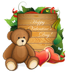 Valentine teddy bear with hearts and foliage vector