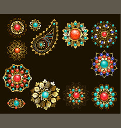 set of jewelry ethnic brooches vector image