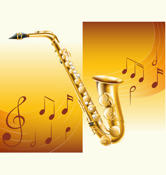 saxophone with music notes in background vector image