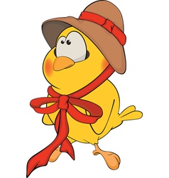 Chicken in a hat cartoon vector