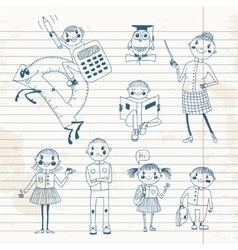 Hand drawn teacher and schoolchildren vector