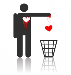 character with bloody heart vector