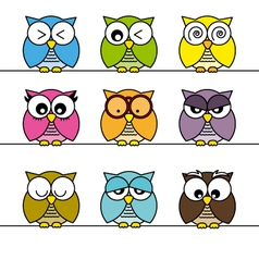 Owls icons vector image