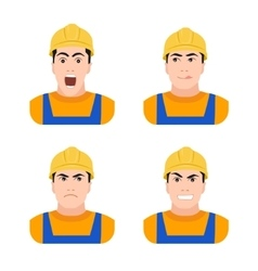 Builder worker at construction different emotions vector